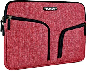 "DOMISO 13 Inch Waterproof Laptop Sleeve Canvas with Back Handle Tablet Cover Bag for 12-13 Inch Laptops / 13"" MacBook Pro / 12.9"" iPad Pro/ASUS/Acer/Lenovo/Dell/HP/MSI, Red"