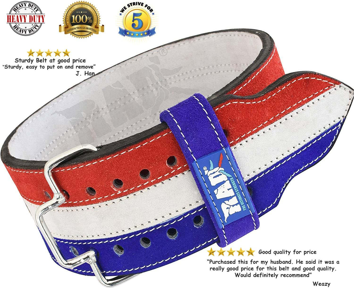 RAD Weight Lifting Belts, Genuine Leather Powerlifting Weight Lifting Belt Quick Release Buckle