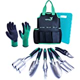 Tepual Garden Tool Set - 9 Pieces Gardening Tool Set Make The Perfect Gifts for Women and Men - Comes With Convenient Garden Tool Bag And Knee Pad For Comfort - Pair Of Gloves as Bonus