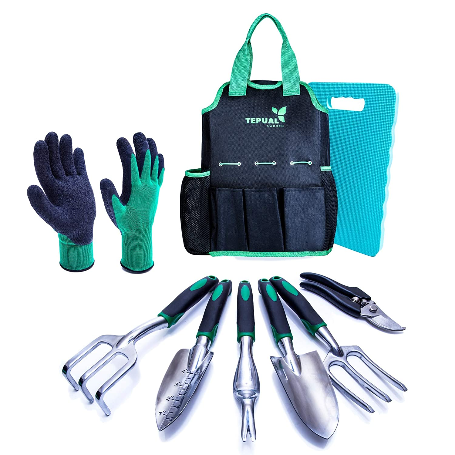 Tepual Garden Tool Set – 9 Pieces Gardening Tool Set Make The Perfect Gifts for Women and Men – Comes With Convenient Garden Tool Bag And Knee Pad For Comfort – Pair Of Gloves as Bonus