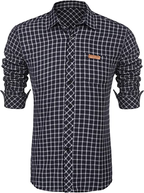 COOFANDY Camisa para hombre a cuadros, de manga larga, ajustada, para ocio, negocios, básica, informal, fácil de planchar azul XXL