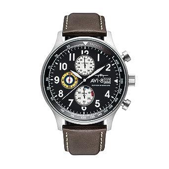 9c67bbcc8 AVI-8 Men's 'Hawker Hurricane' Quartz Stainless Steel and Leather Aviator  Watch,