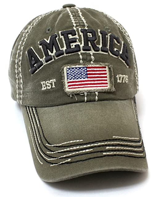 CAPS  N VINTAGE Olive America EST. 1776 Flag Patch Embroidery ... b95996876e