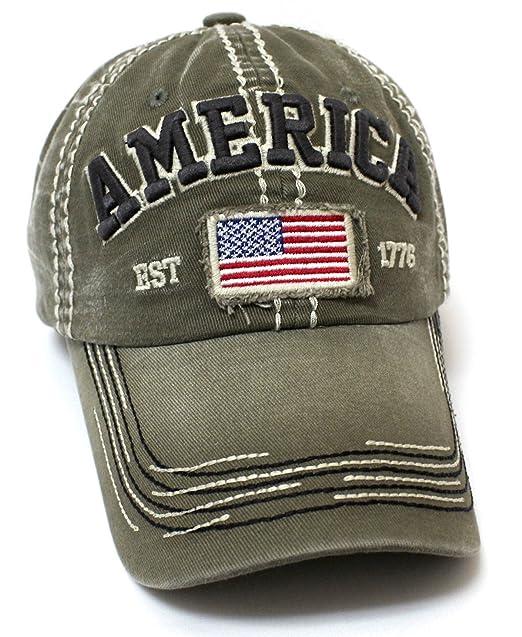 CAPS  N VINTAGE Olive America EST. 1776 Flag Patch Embroidery ... eadbffd6d66
