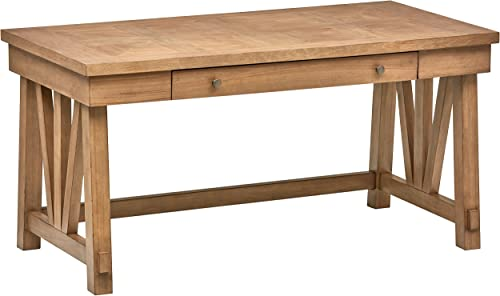 Stone Beam Casual Wood Office Computer Desk, 60 W, Birch