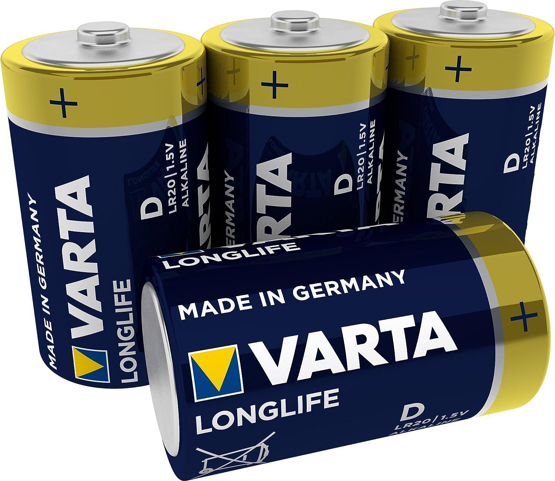 VARTA Longlife - Pilas Alcalinas D / Mono / LR20, Pack x4