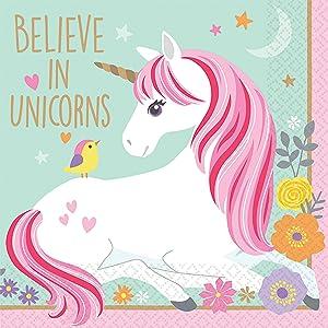Amscan 501929 Beverage Napkins   Magical Unicorn Collection   Birthday   16pcs