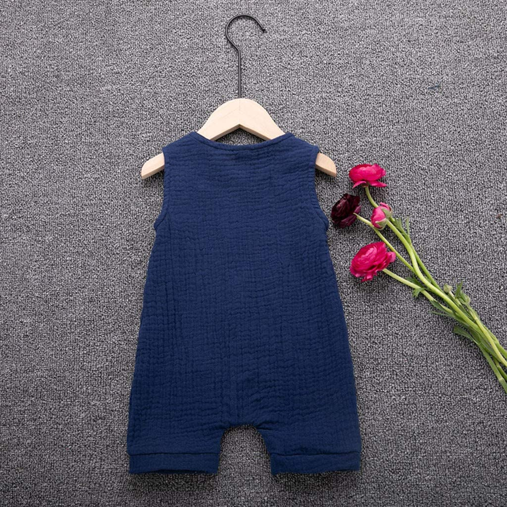 Xmiral Infant Baby Boys Girls Vest Romper Unisex Solid Sleeveless Buttons Jumpsuit