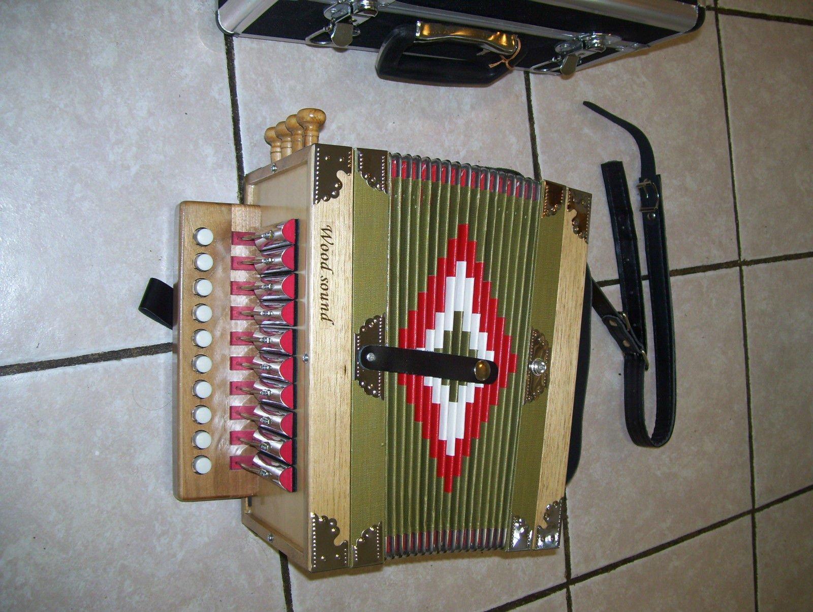 New Zydeco Cajun Button Box Accordion, 10 key 2 Bass