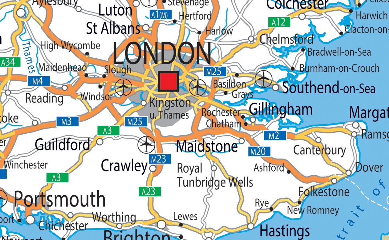 Approx Vinyl GA 130 x 180cm Giant UK Road Map