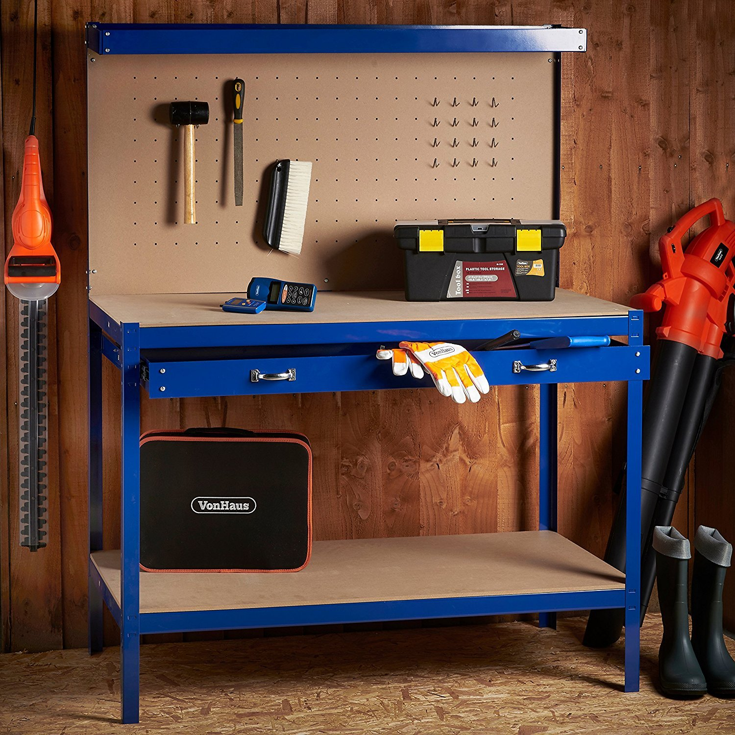 VonHaus Steel Boltless Workbench Worktable Workshop Station With Drawer And Pegboard 12 Pegs Massive Capacity 230 Kg 120L X 60W 155H Cm Amazoncouk