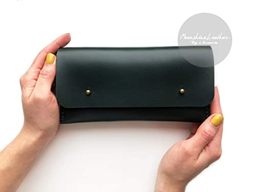 handmade leather wallet mens wallet hand stitching credit card minimalist wallet