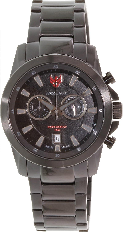 Swiss Eagle – se-9055 – 77 – Zermatt – Armbanduhr – Quarz Chronograph – Zifferblatt schwarz Armband Stahl vergoldet