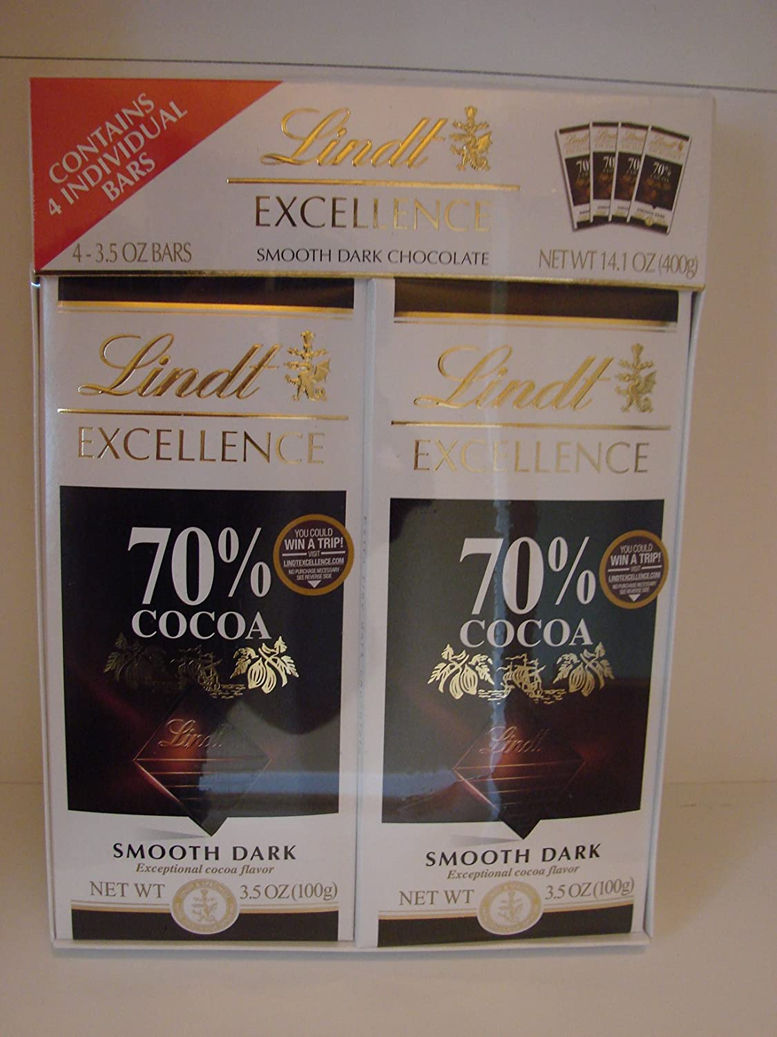 Amazon.com : Lindt Excellence Smooth Dark Chocolate 70% Cocoa Bars ...