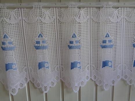 Scheibengardine Stangendurchzug B 2 x 30 cm x H 45 cm Weiß Blau