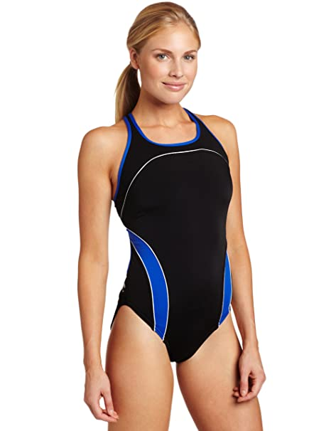 96b72d2b1ee28 Speedo Women's Mercury Splice Endurance+ Drop-Back One-Piece Swimsuit,  Black/Blue