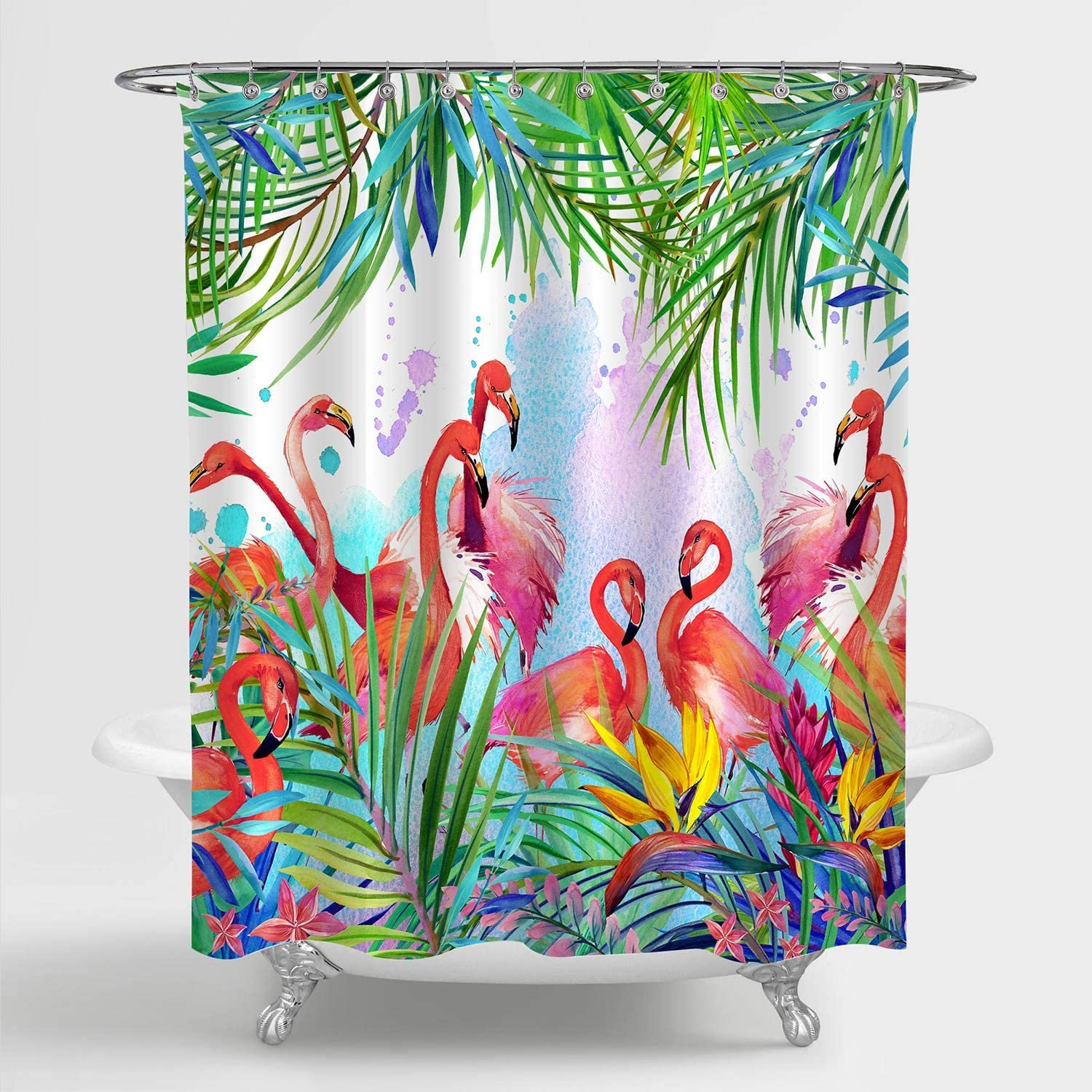 MitoVilla Pink Flamingo Shower Curtain, Exotic Bird with Tropical Jungle Leaves and Flowers Watercolor Bathroom Decor for Women and Girls, Washable Bathroom Accessories, Pink, Green