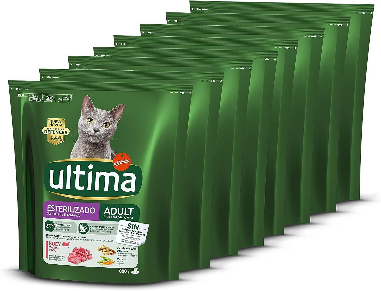 ultima Pienso para Gatos Esterilizados Adultos con Buey, Pack de 8 x 800g - Total: 6.4kg