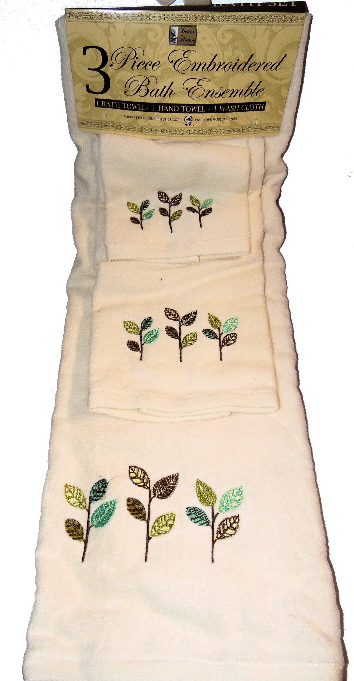 Cream with Colorful Leaves Design - 3 Piece Embroidered Bathroom Towel Set - Bath Towel, Hand Towel, Wash Cloth