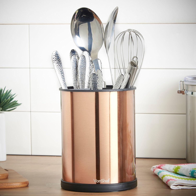 Amazon.com: VonShef Copper Rotating Kitchen Utensil Holder Organizer ...