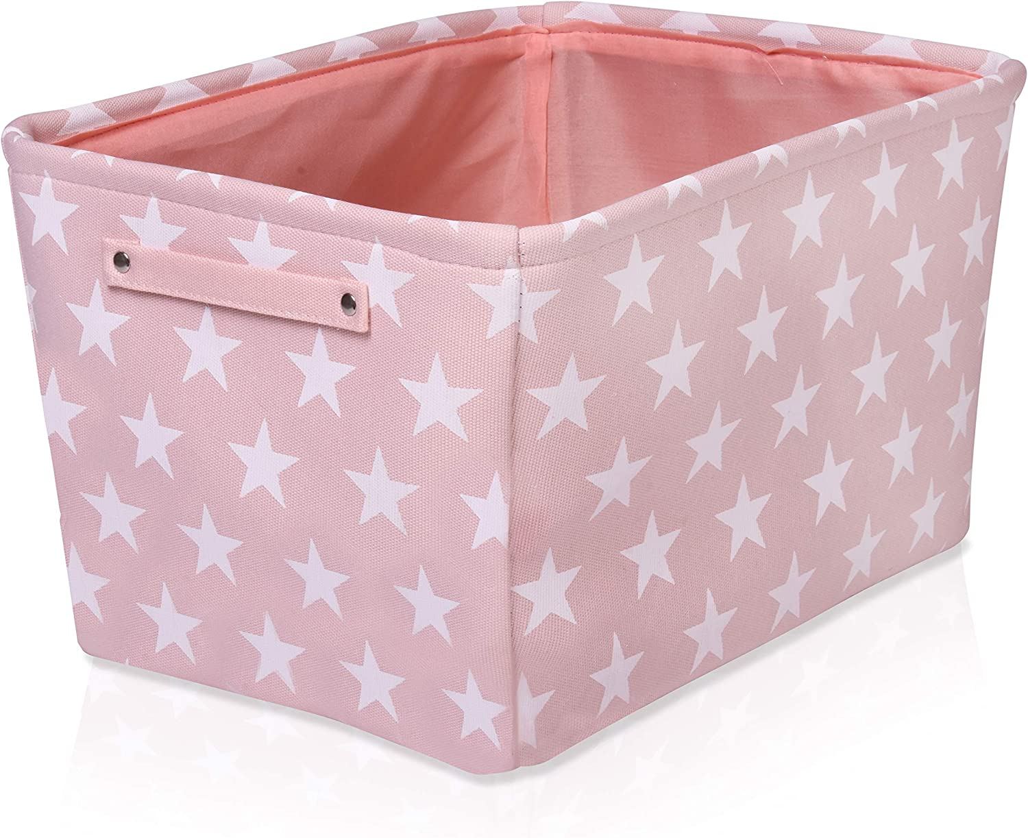 Pink Star Canvas Storage Basket Rectangle Fabric Basket With White Stars Perfect For Household Storage Fabrics Or Toys Size 40cms X 30cms X 25cms Amazon Co Uk Kitchen Home