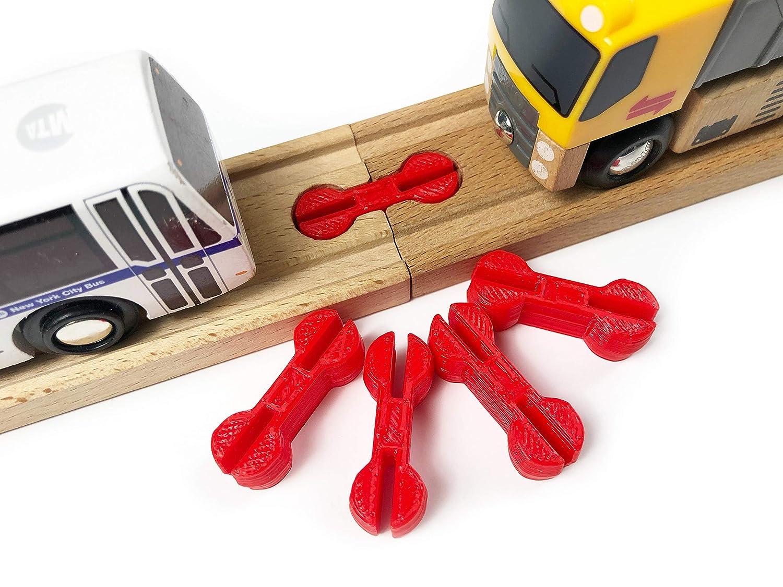 Intermediate Track Builders 5pcs DBone-X, Yellow Perfect for TrainLab Dog Bone Wooden Railway Train Track Connectors 4yrs+