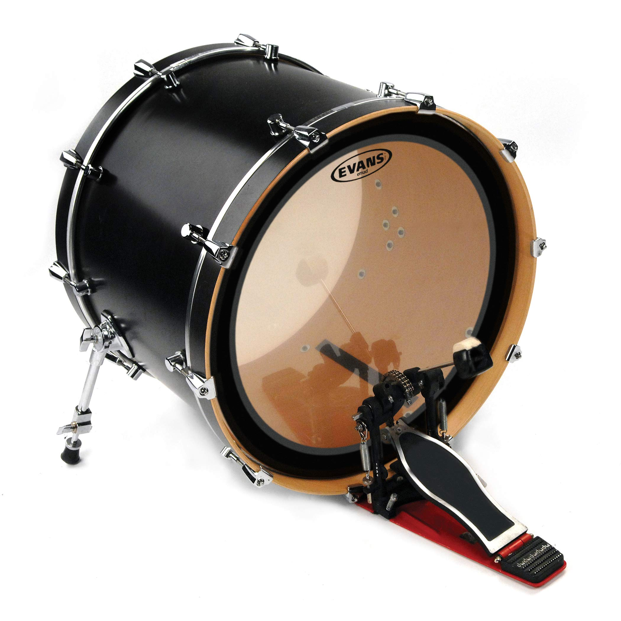 """Evans EMAD2 Clear Bass Drum Head, 20"""" – Externally Mounted Adjustable Damping System Allows Player to Adjust Attack and Focus – 2 Foam Damping Rings for Sound Options - Versatile for All Music Genres"""