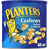PLANTERS Cashew Halves & Pieces, 46 oz Resealable Canister - Roasted in Peanut Oil - Convenient Size Snack - Kosher Snack