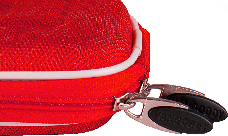 Red VanGoddy Semi Hard Nylon Carrying Case for SVP WP6800 Waterproof Digital Camera and Screen Protector