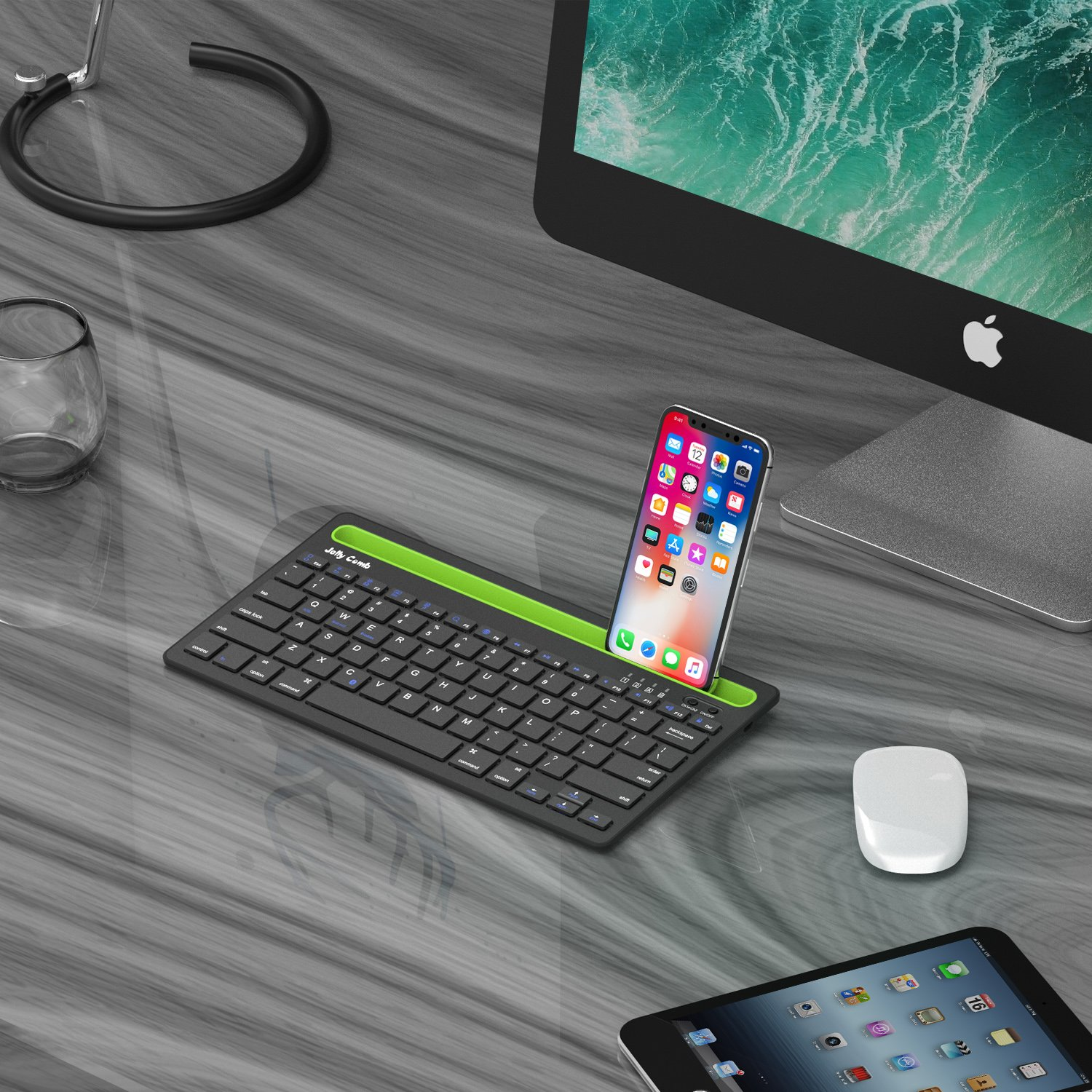 Bluetooth keyboard, Jelly Comb BK230 Dual Channel Multi-device Universal Wireless Bluetooth Keyboard Rechargeable with Sturdy Stand for Tablet Smartphone PC Windows Android iOS Mac (Black and Green) by Jelly Comb (Image #7)