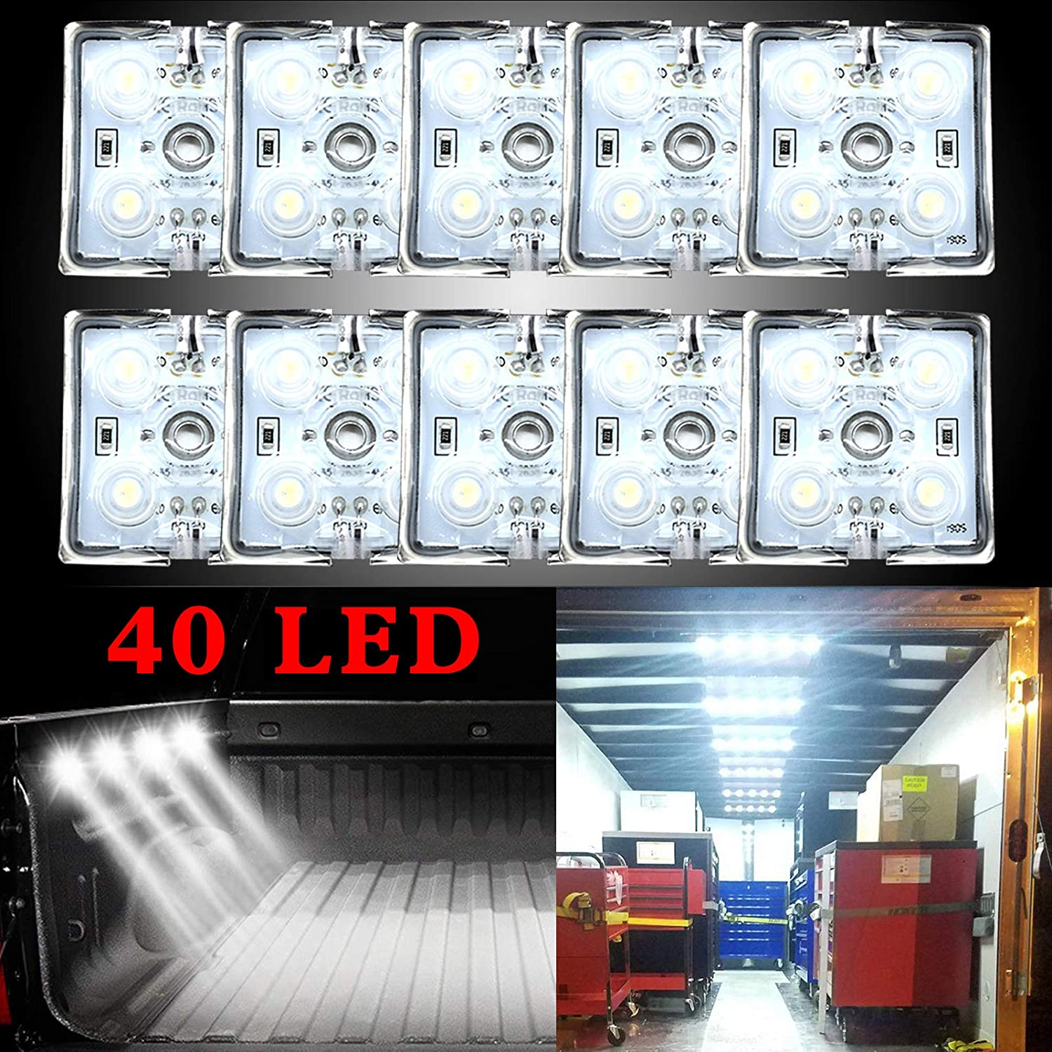 Ruesious 40 Led Auto Innenraumbeleutung Lampe Interior Licht 10x4 Leseleuchte Led Panel Kits Weiß 12v Auto