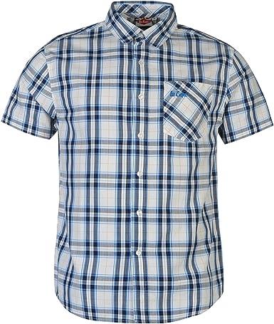Lee Cooper - Camisa de manga corta para hombre blanco/azul S: Amazon.es: Ropa y accesorios