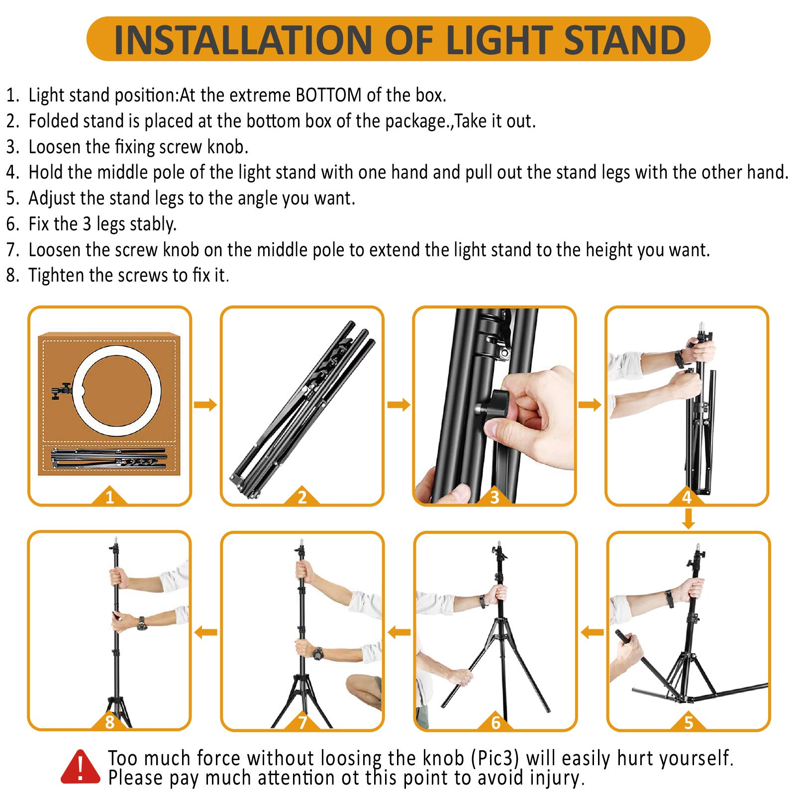 Ring Light Kit:18'' 48cm Outer 55W 5500K Dimmable LED Ring Light, Light Stand, Carrying Bag for Camera,Smartphone,YouTube,Self-Portrait Shooting by IVISII (Image #5)