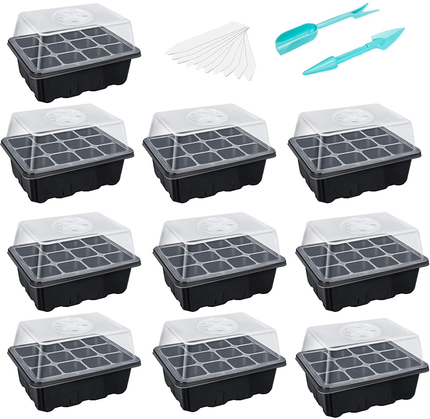 120 Cells Seed Trays Seedling Starter Tray Humidity Adjustable Plant Starting Kit with Dome and Base Greenhouse Grow Set Mini Propagator for Seeds Growing (12 Cells per Tray)