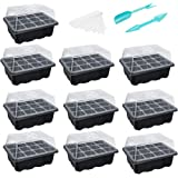 10-Pack Seed Trays Seedling Starter Tray (12 Cells per Tray) Humidity Adjustable Plant Starter Kit with Dome and Base Greenho