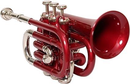 India musikalien BB Pitch bolsillos trompeta con estuche y boquilla, Rojo + níquel de colores de Nasir Ali: Amazon.es: Instrumentos musicales