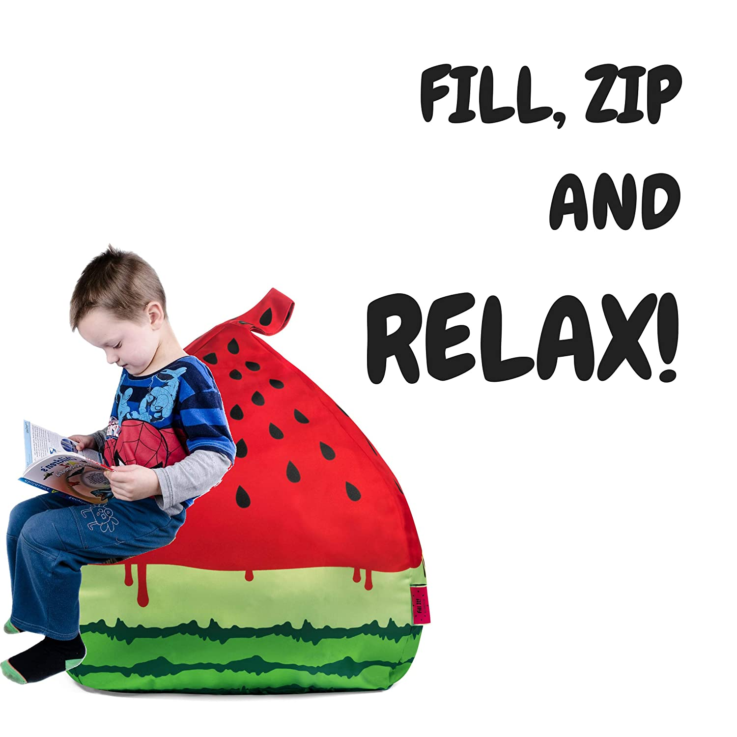 Fill It Bean Bag Cover Stuffed Animal Storage Organize Your Kids Room Watermelon Design Superfluo Co.