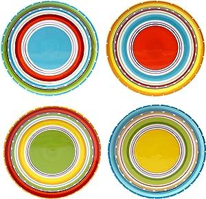 "Certified International 25626SET/4 Mariachi Salad/Dessert Plates (Set of 4), 8.75"", Multicolor"