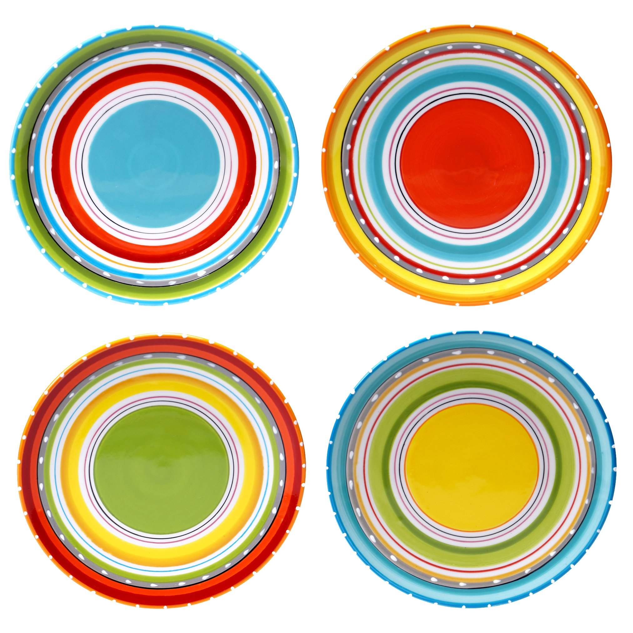 Certified International 25626SET/4 Mariachi Salad/Dessert Plates (Set of 4), 8.75'', Multicolor