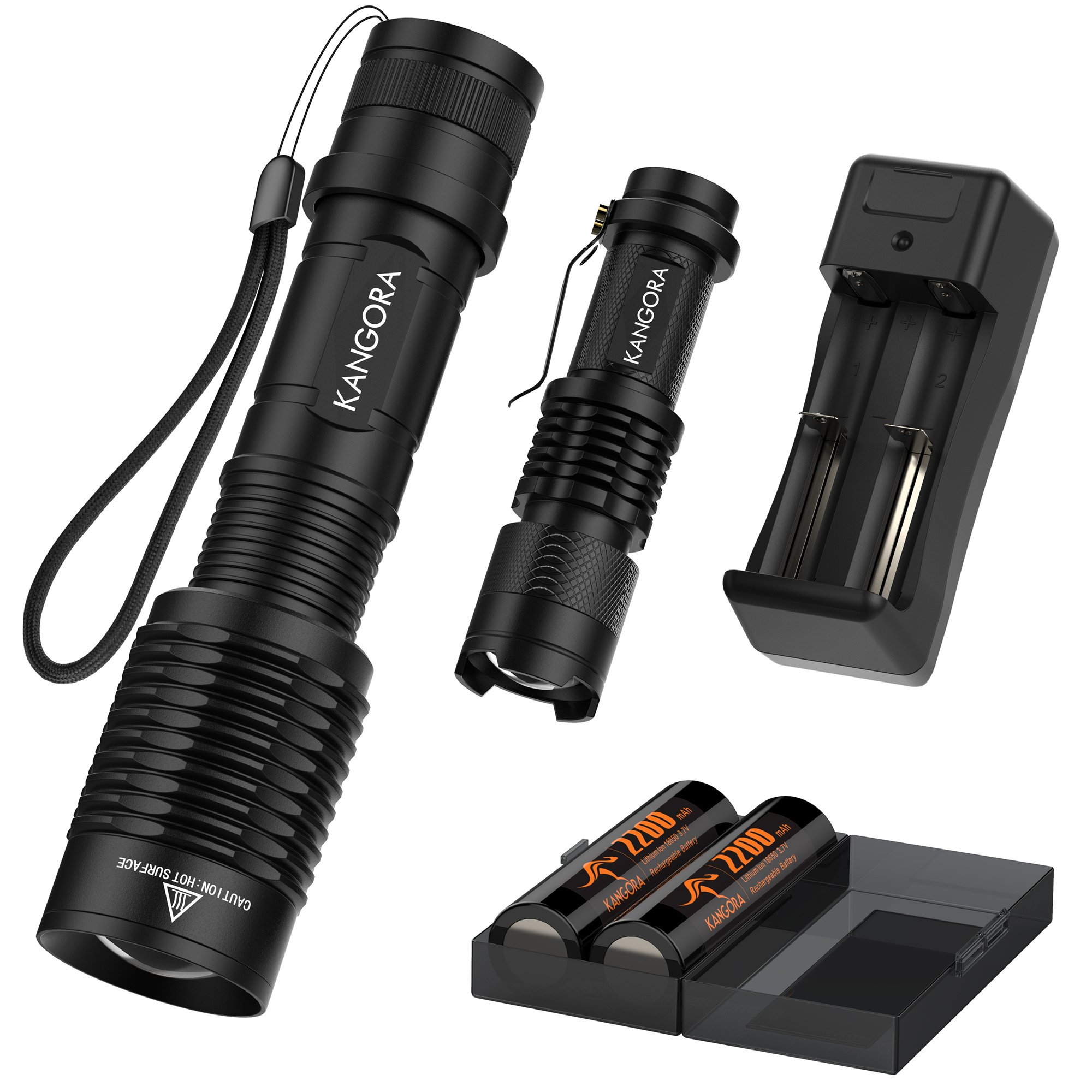 KANGORA LED Flashlight Kit - 5 Modes - Water-Resistant Handheld Flashlights with Rechargeable 18650 Battery Charger for Camping, Hiking, Cycling, and Emergency Search Missions by KANGORA (Image #2)