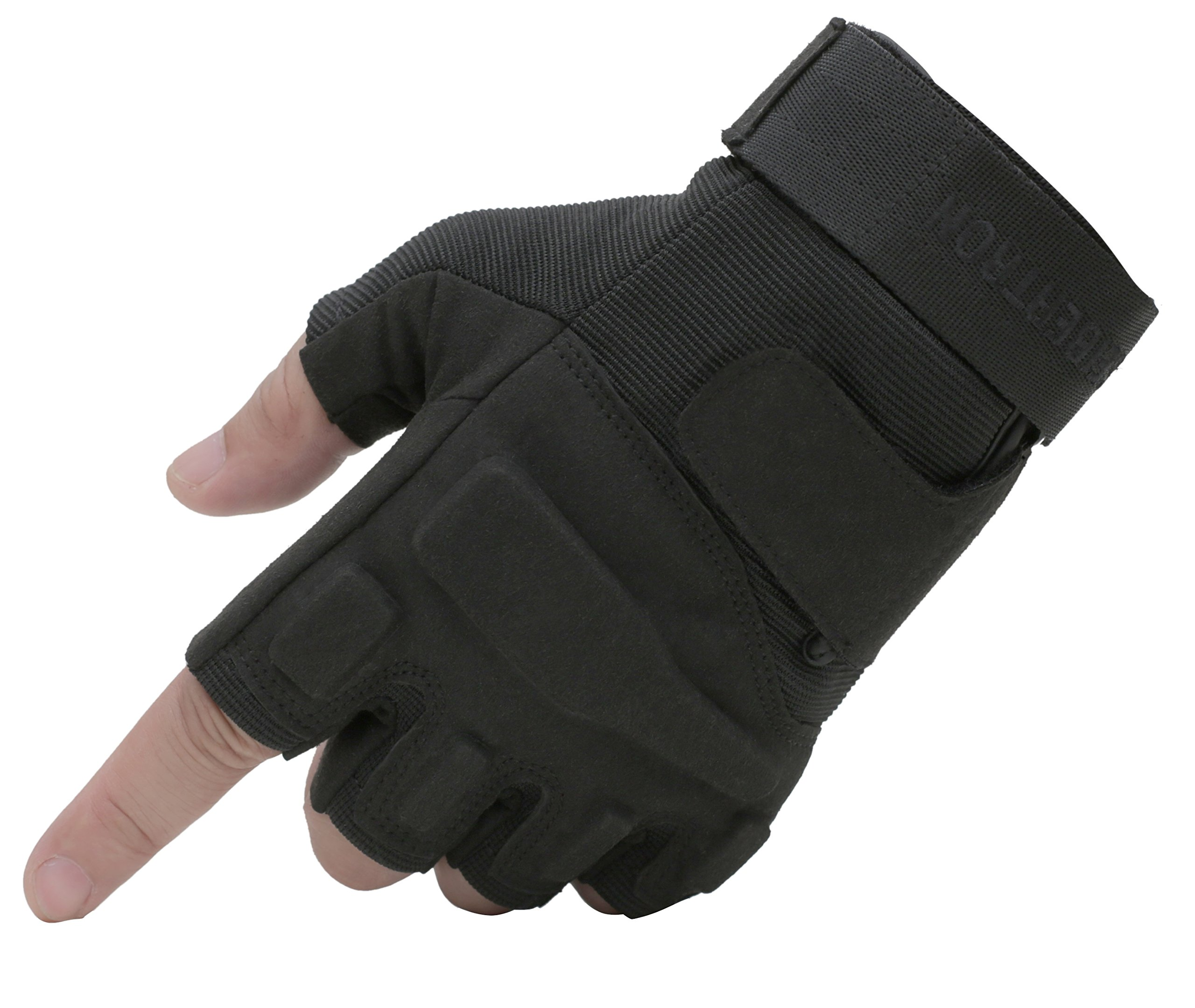Seibertron Men's Black S.o.l.a.g. Special Ops 1/2 Finger Light Assault Gloves Tactical Fingerless Half Finger Gloves