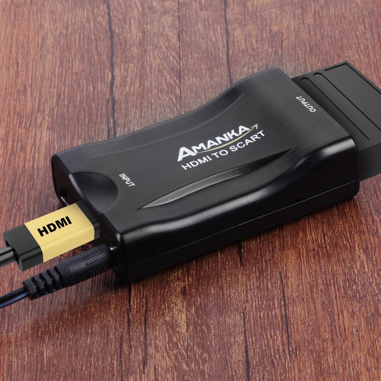 Amanka HDMI a SCART Convertidor de Euroconector HD Vídeo Compuesto Adaptador de Audio Estéreo para Sky HD BLU Ray DVD TV PS3: Amazon.es: Electrónica