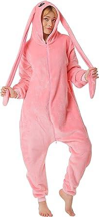 corimori- Bonnie El Conejo Pijamas Animal Traje de Una Pieza Disfraz Adultos Invierno, Color rosa oscuro, Talla 180-190 cm (1852) , color/modelo ...