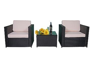 Amazonde Mcombo 3tlg Poly Rattan Gartenmöbel Sitzgarnitur