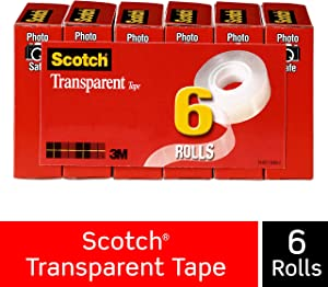 Scotch Transparent Tape, Great Value, Cuts Cleanly, Engineered for Office and Home Use, 3/4 x 1000 Inches, Boxed, 6 Rolls (600K6)