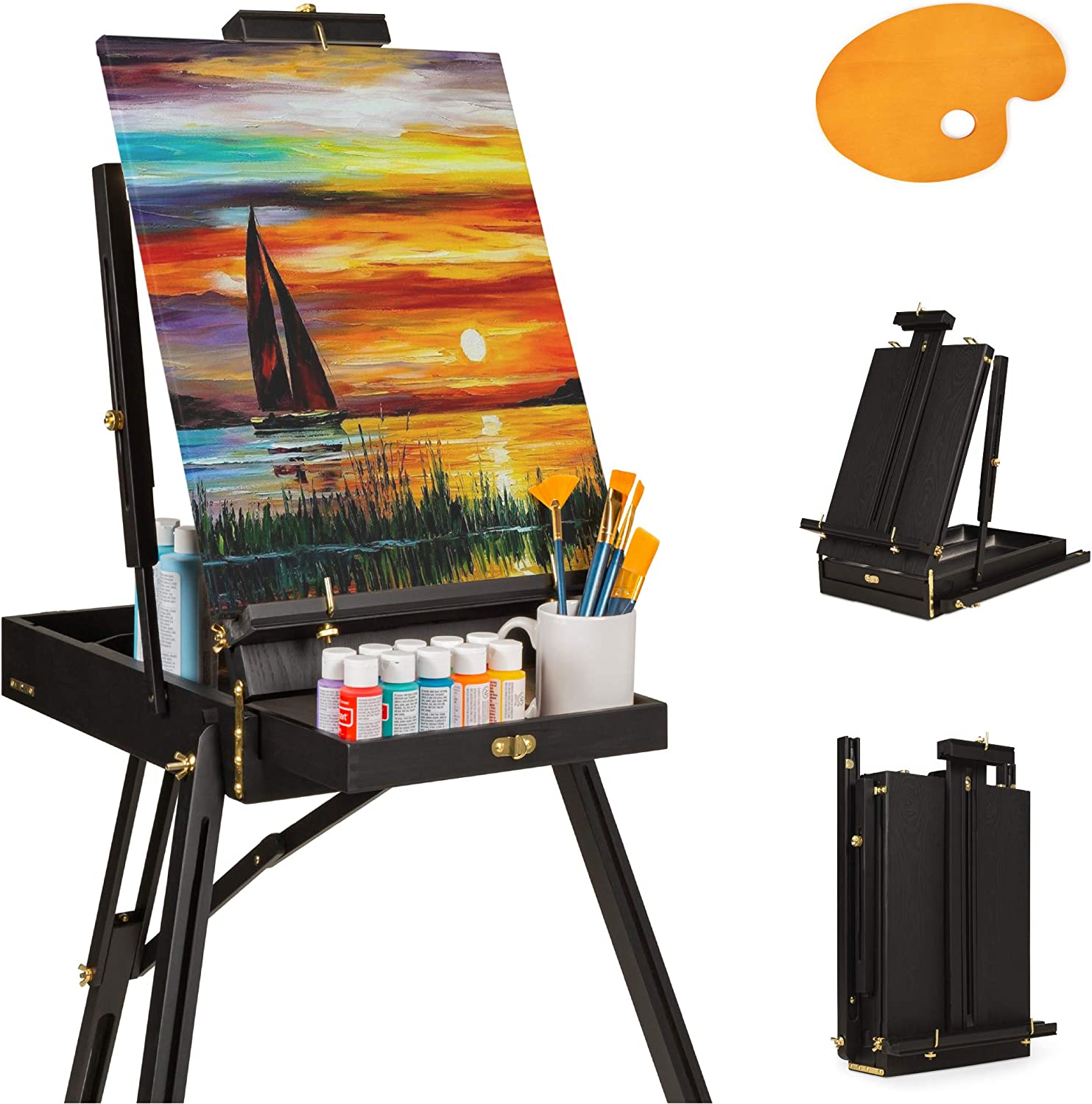 Best Choice Products Portable Wooden Folding French Easel Adjustable Sketch Box Artist Tripod For Painting Drawing Sketching W Drawer Pallet Handle Black Furniture Decor