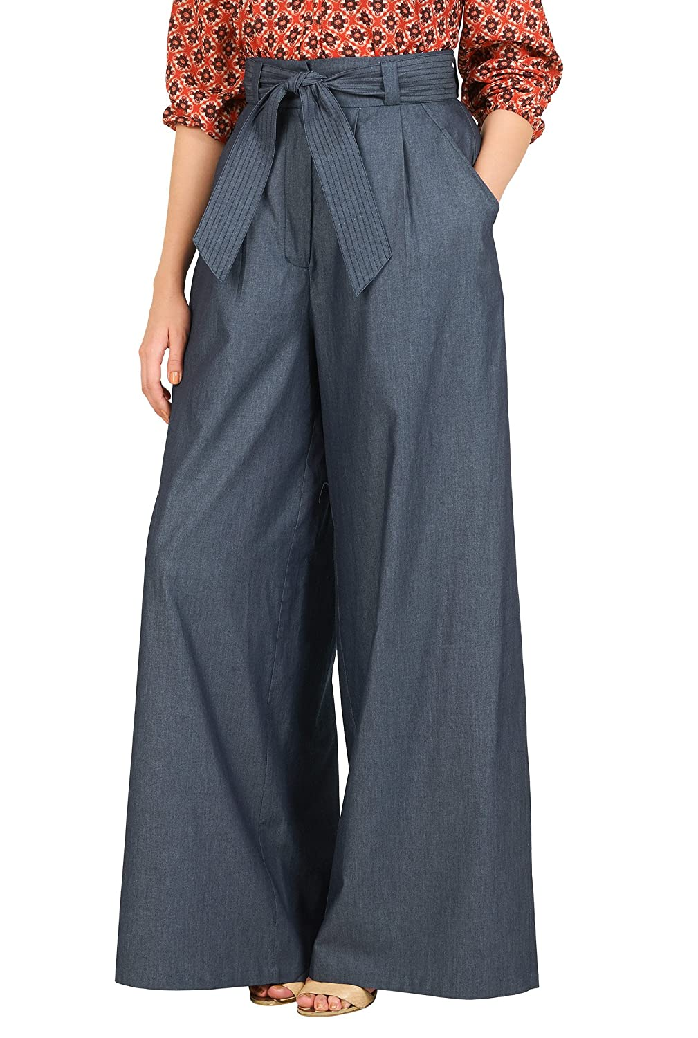 1930s Plus Size Dresses High waist chambray palazzo pants $56.95 AT vintagedancer.com