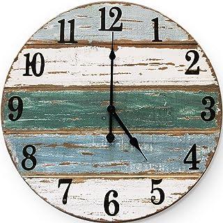 Wallcharmers 18 inch Beach Clock | Handmade Cedar Wood Beach Wall Clock | Great Ocean Clock On Lake Time Clock Coastal Wall Clock Beach Theme Clock Tropical Clock Beach Wall Clocks Beachy Wall Clock