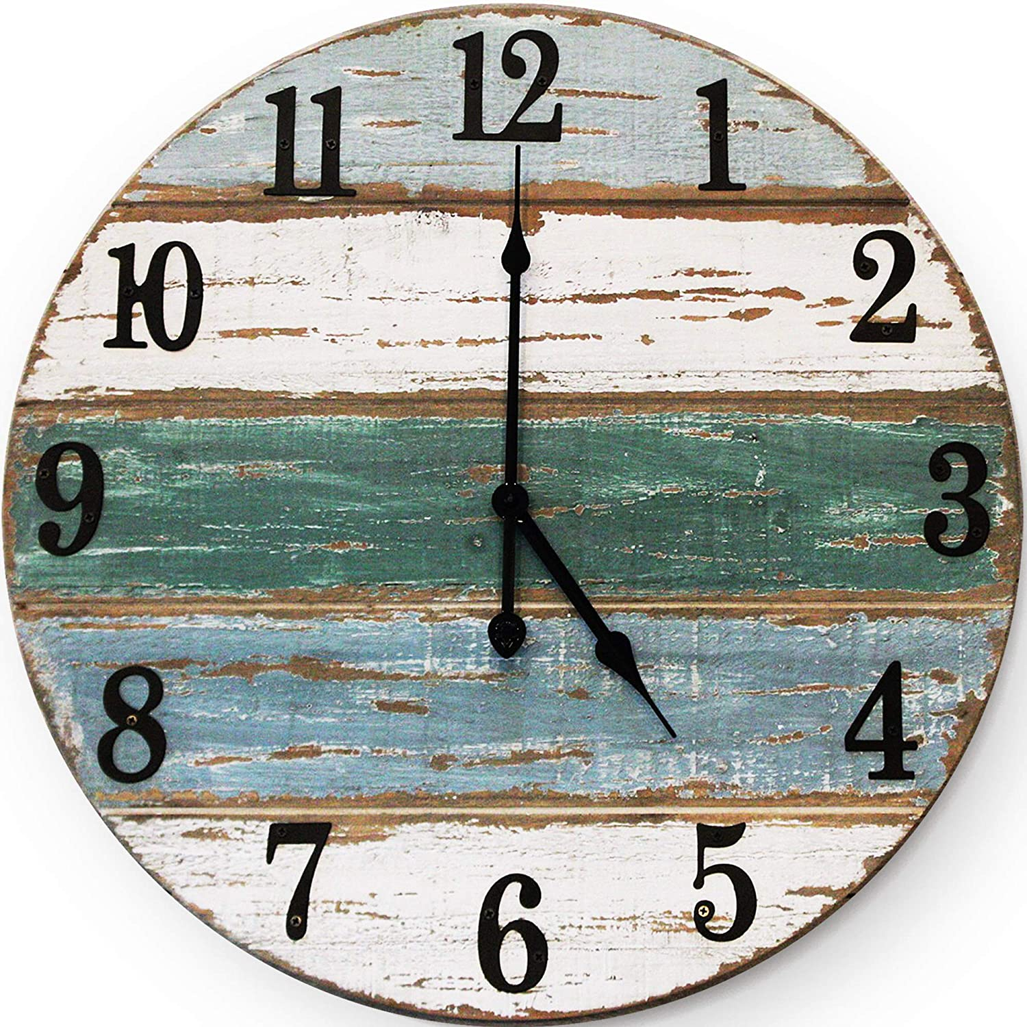 Wallcharmers 18 inch Beach Clock | Handmade Cedar Wood Beach Wall Clock | Great Ocean Clock On Lake Time Clock Coastal Wall Clock Beach Theme Clock Tropical Clock Beach Wall Clocks Beachy Wall Clock