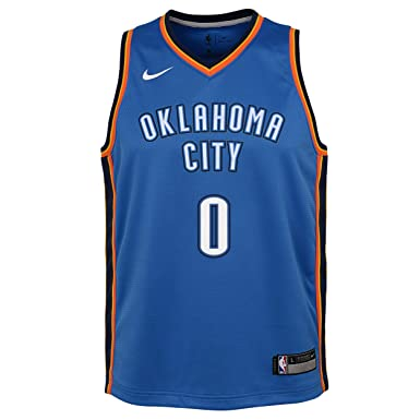 Nike NBA Oklahoma City Thunder Russell Westbrook 0 2017 2018 Icon Edition Jersey Oficial Away, Camiseta de Niño: Amazon.es: Ropa y accesorios